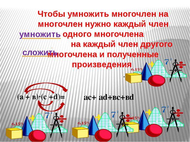 Чтобы умножить многочлен на многочлен нужно каждый член одного многочлена на...