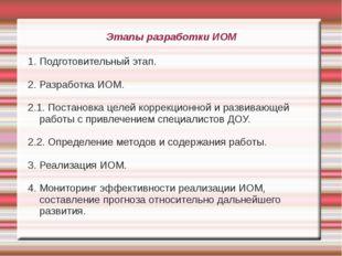 Этапы разработки ИОМ 1. Подготовительный этап. 2. Разработка ИОМ. 2.1. Постан