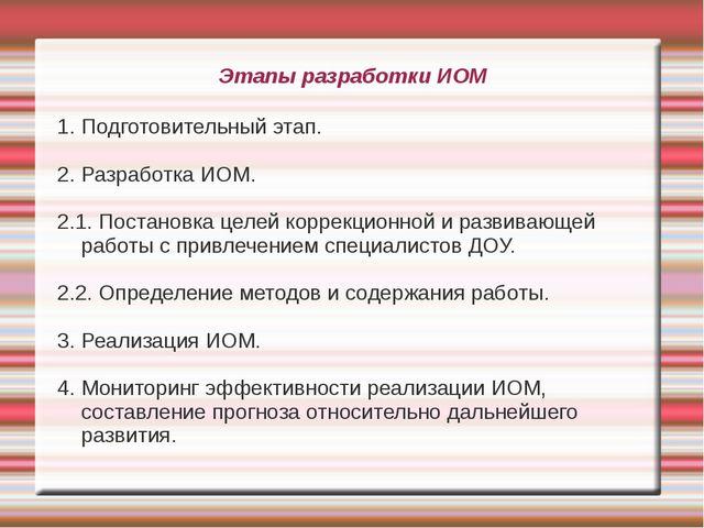 Этапы разработки ИОМ 1. Подготовительный этап. 2. Разработка ИОМ. 2.1. Постан...