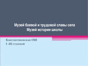 Музей боевой и трудовой славы села Музей истории школы Константиновская ОШ I