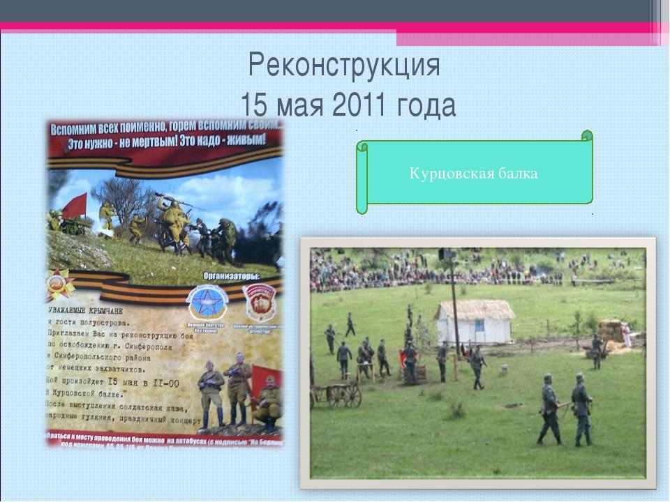 Реконструкция 15 мая 2011 года Курцовская балка