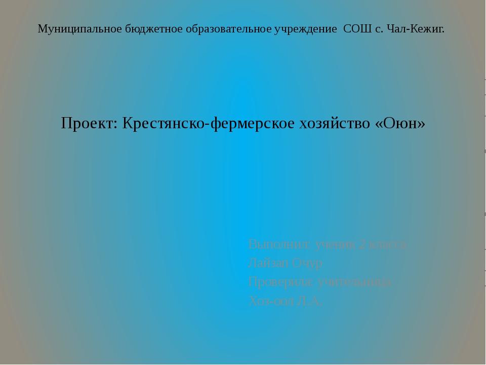 Проект: Крестянско-фермерское хозяйство «Оюн» Выполнил: ученик 2 класса Лайза...