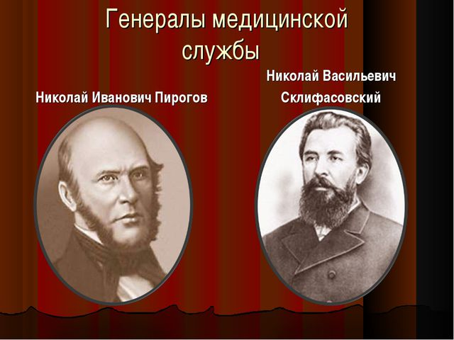Генералы медицинской службы Николай Иванович Пирогов Николай Васильевич Склиф...