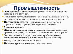 Промышленность Электроэнергетика сконцентрирована на юге Киргизии, на Нарыне
