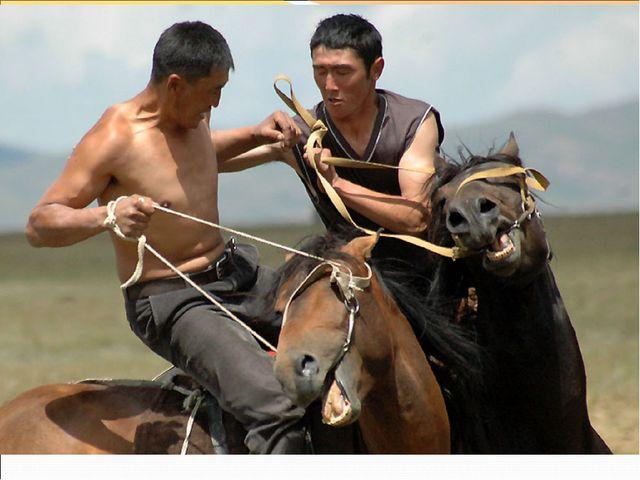 Киргизы хорошие наездники и на каждом праздники устраивают конные соревнования.