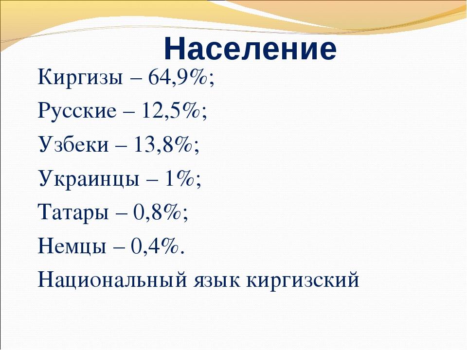Население Киргизы – 64,9%; Русские – 12,5%; Узбеки – 13,8%; Украинцы – 1%; Та...