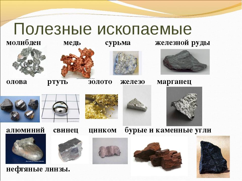 Полезные ископаемые молибден медь сурьма железной руды олова ртуть золото жел...