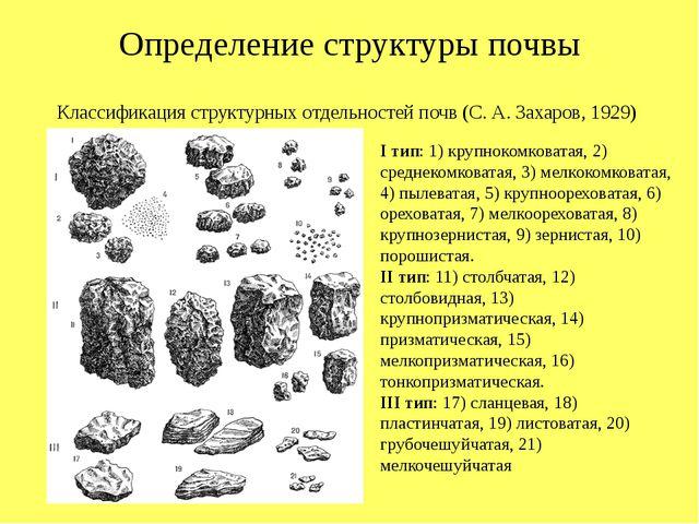 Определение структуры почвы I тип: 1) крупнокомковатая, 2) среднекомковатая,...