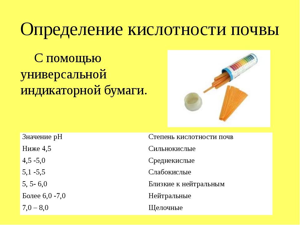Определение кислотности почвы С помощью универсальной индикаторной бумаги. Зн...