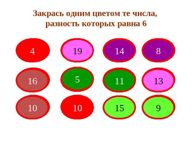 Закрась одним цветом те числа, разность которых равна 6 4 19 14 8 16 5 11 13...