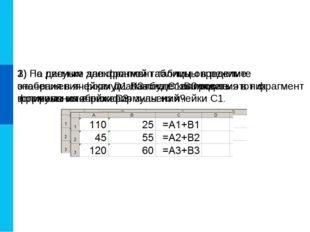 1) На рисунке дан фрагмент таблицы в режиме отображения формул. Как будет выг