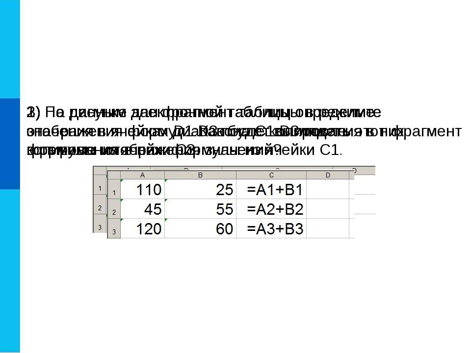 1) На рисунке дан фрагмент таблицы в режиме отображения формул. Как будет выг...