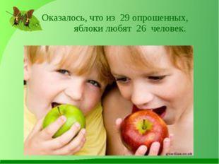 Оказалось, что из 29 опрошенных, яблоки любят 26 человек.