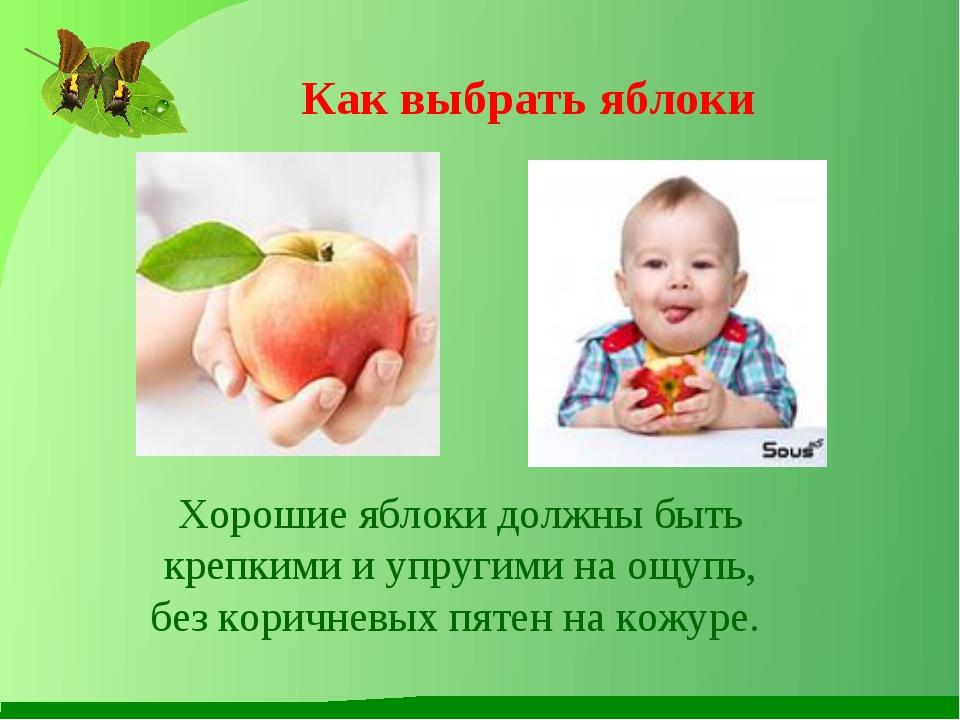 Как выбрать яблоки Хорошие яблоки должны быть крепкими и упругими на ощупь, б...
