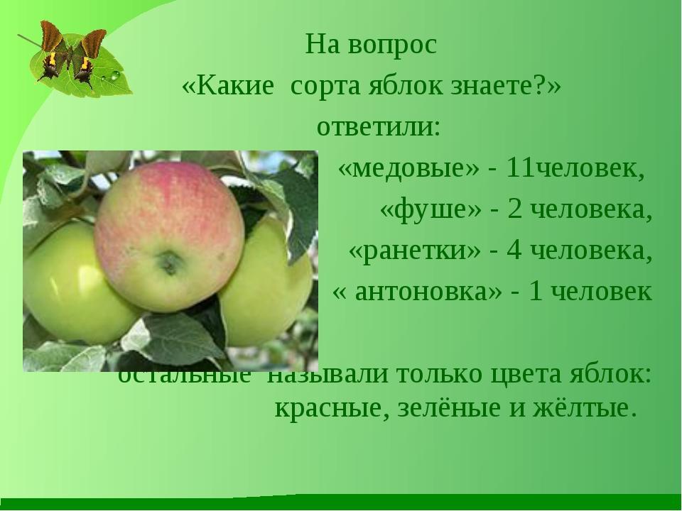 На вопрос «Какие сорта яблок знаете?» ответили: «медовые» - 11человек, «фуше»...
