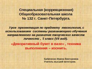 Специальная (коррекционная) Общеобразовательная школа № 132 г. Санкт-Петербур