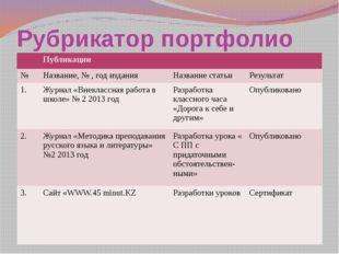 Рубрикатор портфолио Публикации № Название, № , год издания Название статьи Р