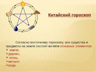 Китайский гороскоп Согласно восточному гороскопу, все существа и предметы на