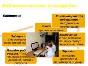 Веб-квест состоит из разделов: Комментарии для модератора - методические рек