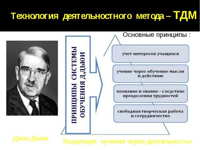 Технология деятельностного метода – ТДМ Джон Дьюи Концепция «учения через...
