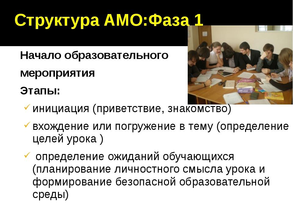 Структура АМО:Фаза 1 Начало образовательного мероприятия Этапы: инициация (пр...