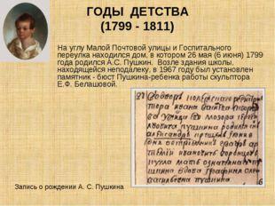 ГОДЫ ДЕТСТВА (1799 - 1811) На углу Малой Почтовой улицы и Госпитального переу