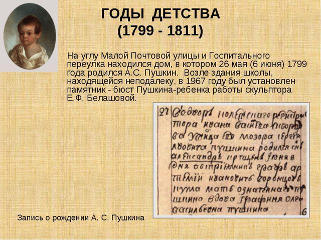 ГОДЫ ДЕТСТВА (1799 - 1811) На углу Малой Почтовой улицы и Госпитального переу...
