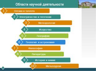 Области научной деятельности Метеорология 3 Искусство 4 География 5 Геология