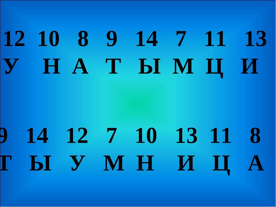 9 14 12 7 10 13 11 8 Т Ы У М Н И Ц А 10 8 9 14 7 11 13 У Н А Т Ы М Ц И