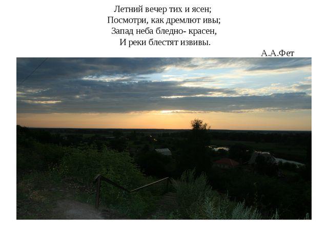 Летний вечер тих и ясен; Посмотри, как дремлют ивы; Запад неба бледно- красен...