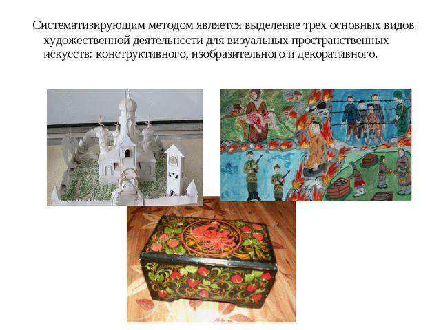 Систематизирующим методом является выделение трех основных видов художествен...