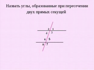 Назвать углы, образованные при пересечении двух прямых секущей 1 2 3 4 5 6 7 8