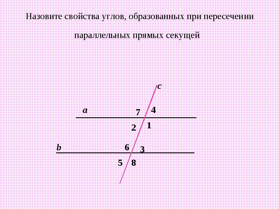 Назовите свойства углов, образованных при пересечении параллельных прямых сек...