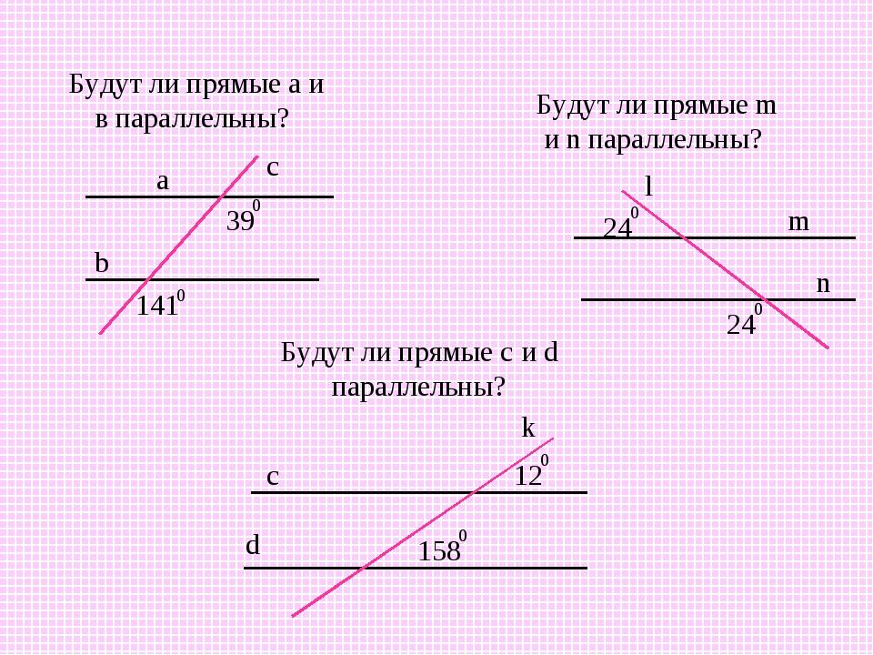 Будут ли прямые а и в параллельны? Будут ли прямые m и n параллельны? Будут л...