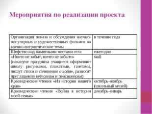 Мероприятия по реализации проекта