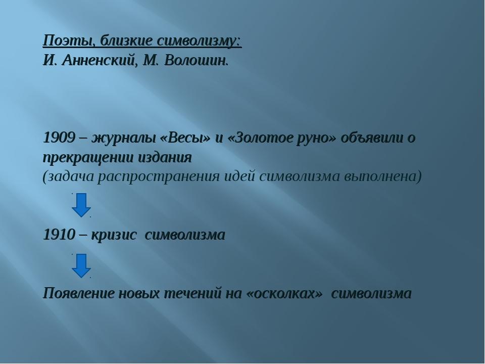 Поэты, близкие символизму: И. Анненский, М. Волошин. 1909 – журналы «Весы» и...