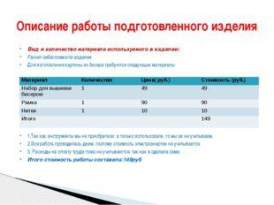 Вид и количество материала используемого в изделии: Расчет себестоимости изде