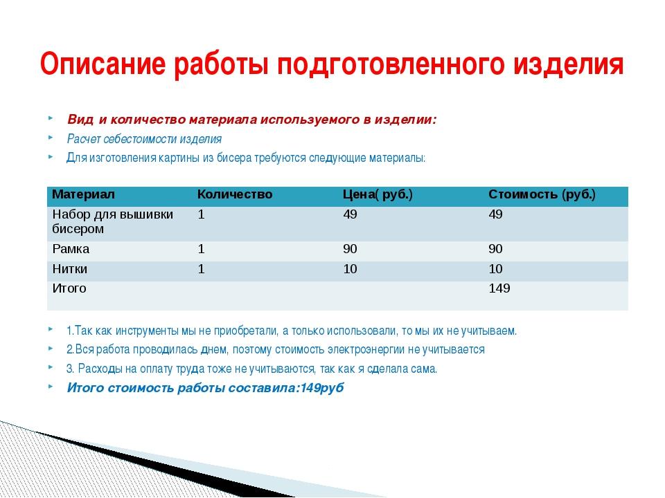 Вид и количество материала используемого в изделии: Расчет себестоимости изде...