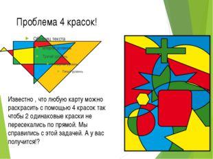 Проблема 4 красок! Известно , что любую карту можно раскрасить с помощью 4 кр