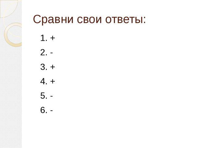 Сравни свои ответы: 1. + 2. - 3. + 4. + 5. - 6. -