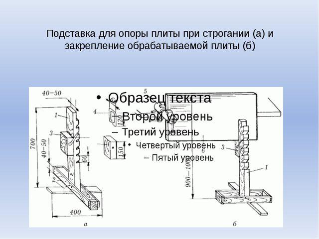 Подставка для опоры плиты при строгании (а) и закрепление обрабатываемой плит...
