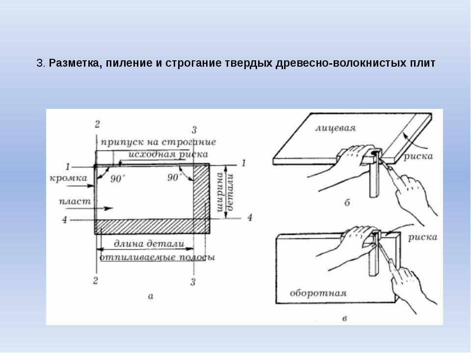 3. Разметка, пиление и строгание твердых древесно-волокнистых плит