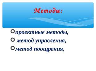 проектные методы, метод управления, метод поощрения, Методы: