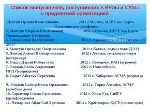 Список выпускников, поступивших в ВУЗы и СУЗы с предметной ориентацией 1Донга