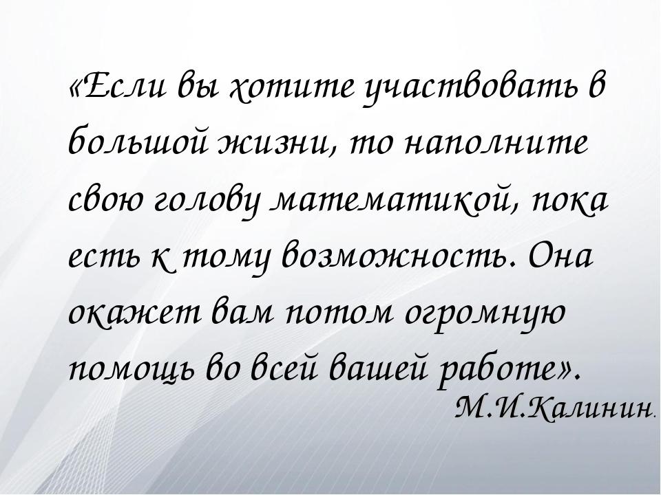 «Если вы хотите участвовать в большой жизни, то наполните свою голову матема...