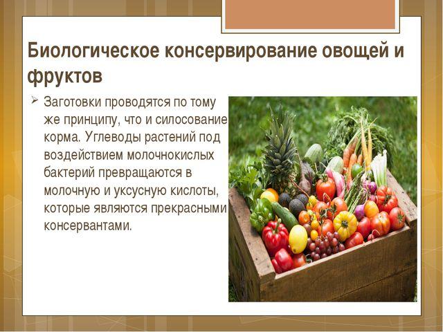 Биологическое консервирование овощей и фруктов Заготовки проводятся по тому ж...