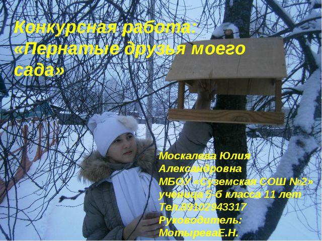 Конкурсная работа: «Пернатые друзья моего сада» Москалева Юлия Александровна...