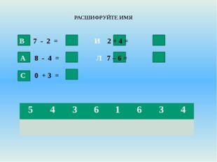 РАСШИФРУЙТЕ ИМЯ В 7 - 2 =  5 И 2 + 4 = 6 А 8 - 4 = 4 Л 7 – 6 = 1 С 0 +