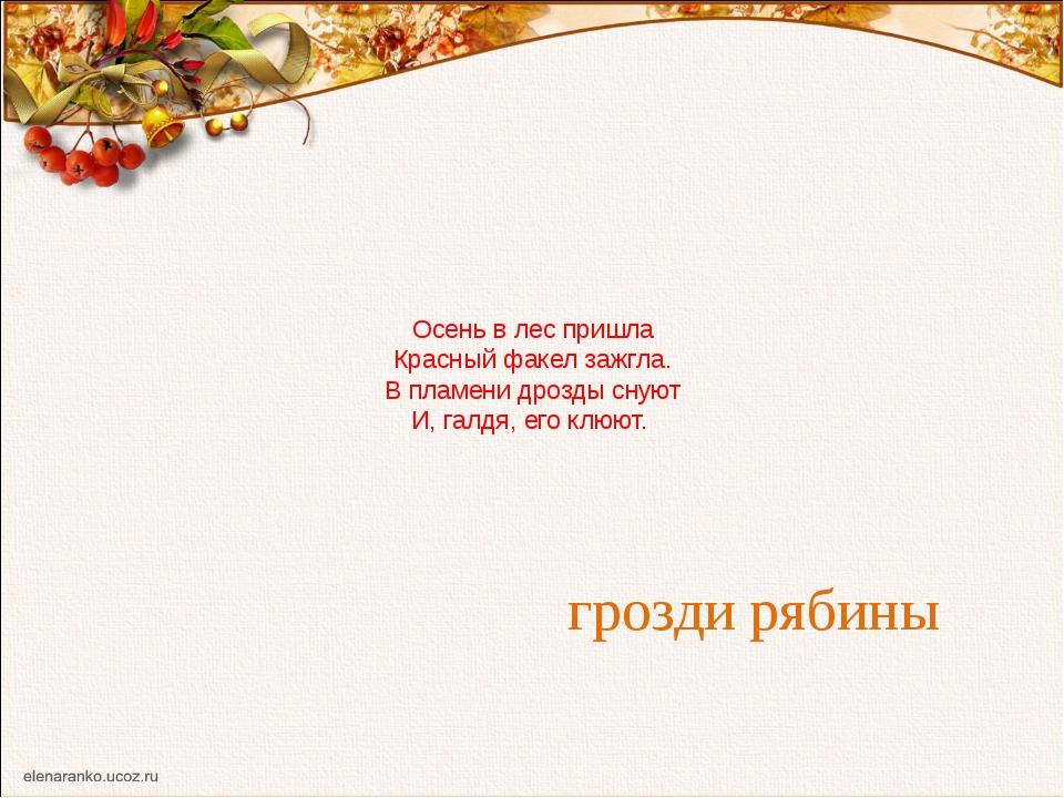 Осень в лес пришла Красный факел зажгла. В пламени дрозды снуют И, галдя, его...