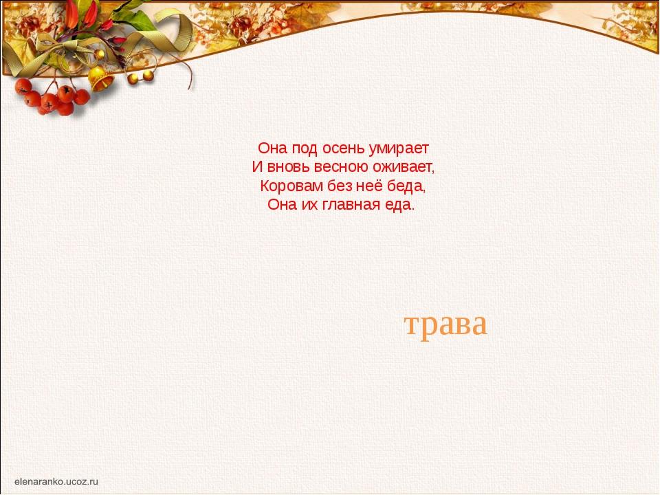 Она под осень умирает И вновь весною оживает, Коровам без неё беда, Она их гл...